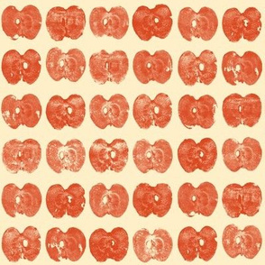 tiny apple prints - red on cream