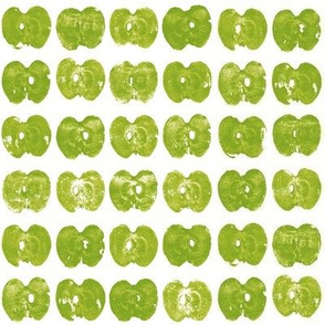 tiny apples - green on white
