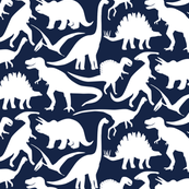 Little Dinosaur Friends - white and indigo