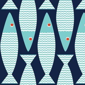 Wavy Bass - indigo turquoise vertical