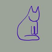 Tiny Blue Cats on Grey