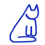 Tiny Blue Cats on White