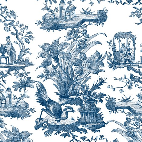 Chinoiserie toile lonely angel blue and white fabric for Chinoiserie design