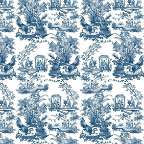 Chinoiserie Toile ~ Lonely Angel Blue and White
