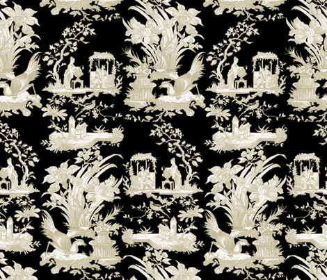 Chinoiserie toile linen and white on black fabric peacoquettedesigns sp - Toile triptyque design ...