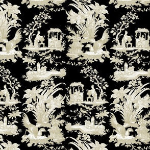 Chinoiserie Toile ~ Linen and White on Black