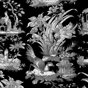 Chinoiserie Toile ~ Black and White on Black