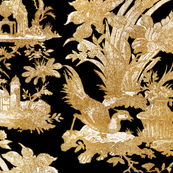 Chinoiserie Toile ~ Gilt on Black