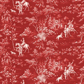 The Grand Hunt Toile ~ Turkey Red and White