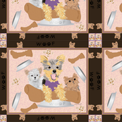 "Yorkie-Miki Hungry Dog Bone 42x36"" quilt panel"