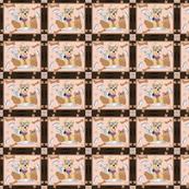 Miki, Yorkie hungry bone fabric - Cheater Quilt