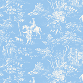 The Grand Hunt Toile ~ Jasper Blue and White