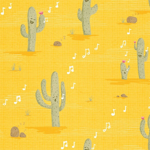 Desert Lullaby - Crooning Cacti Yellow
