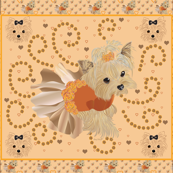 "Yorkie Little Rue Orange 42x36"" quilt panel"