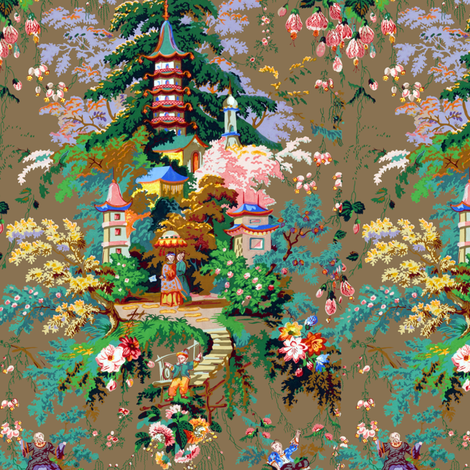 Chinoiserie palace fabric peacoquettedesigns spoonflower for Chinoiserie design
