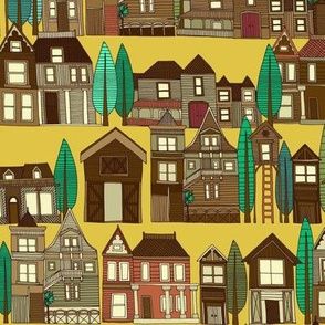 wooden buildings yellow gold