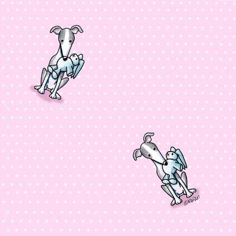 Italian Greyhounds On Pink