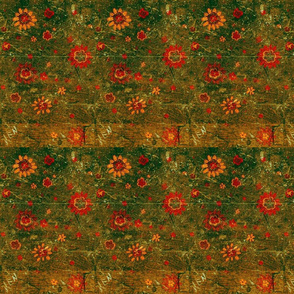 Retro Green Flowers-ed
