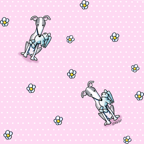 Greyhounds On Dots With Flowers