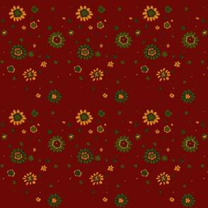 Retro Red Flowers