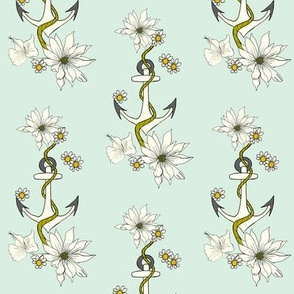 Anchor & Flowers with mint background