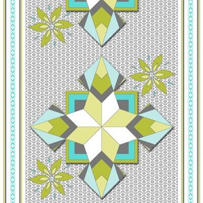 Aunty Bella's Southwest Cactus Flower Stripe - Baby Blue and Cactus Greens