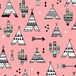 Cute indian summer teepee tent camping and arrow cactus western woodland theme in pink and mint