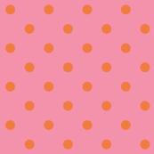 Orange polkadots - pink base