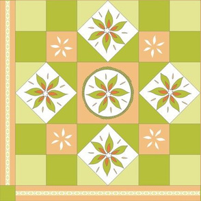 I Spy Southwest Cactus Flowers Quilt - Desert Orange and Cactus Green