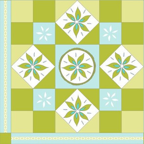 I Spy Southwest Cactus Flowers Quilt - Baby Blue, Turquoise and Cactus Green