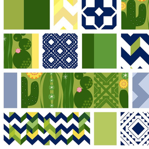 Southwest CactusGarden Modern Patchwork_Rectangle_Vert_Med