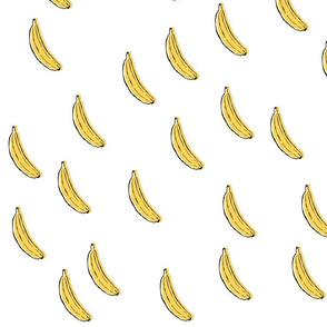 Bananas Yellow and Black on White Random Layout