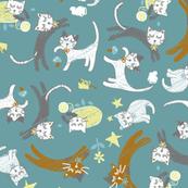 soft cat gymnastics- Turkey Blue