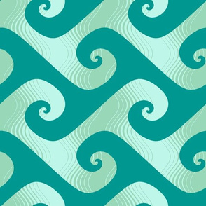 XL stripey waves in surfing teal