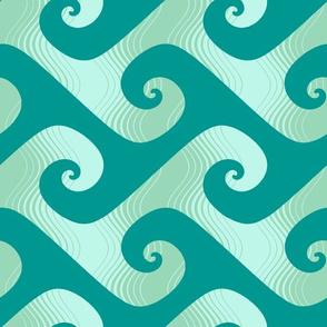XL stripey waves in surfing teal