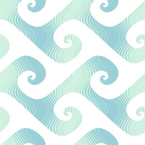 XL stripey waves in mint and light blue