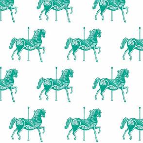 Carousel Horse in Elegant Emerald
