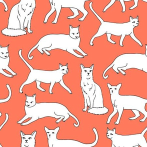 cats // orange coral cat fabric for cat ladies cute illustrated cats