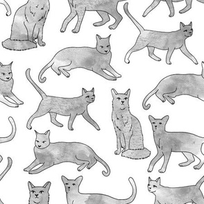 cats // grey watercolor cats watercolors painted grey nursery sweet cat fabric