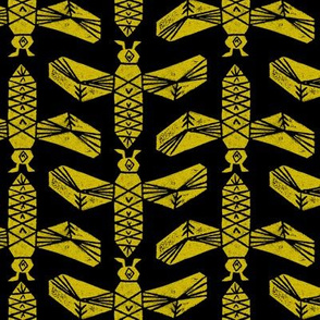 Bees - Mustard and Black by Andrea Lauren