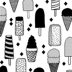 ice cream // ice creams ice cream cone black and white sweets summer fabrics