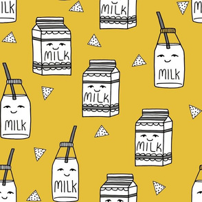 milk // food hand-drawn kids illustration pattern design