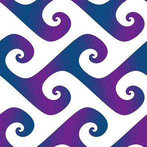XL diagonal stripe wave in purple and blue