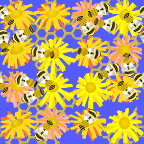 Busy Bees on Yellow Daisies