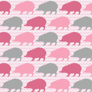 Pink Chevron Hedgehog Silhouette