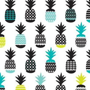 Fun black aqua blue and lime color pops geometric pineapple fruit summer beach theme illustration pattern