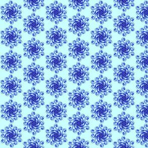 Geometric flower bright blue