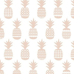 Soft gender neutral beige soft pastel geometric pineapple fruit summer beach theme illustration pattern