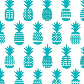 Fun ocean blue aqua ananas geometric pineapple fruit summer beach theme illustration pattern
