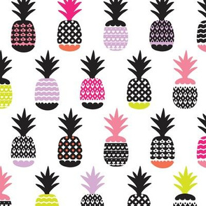 Fun black and white pink and lime color pops geometric pineapple fruit summer beach theme illustration pattern